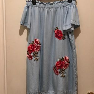 BLUE DRESS W/RED&PINK EMBROIDERED ROSES SHOULDERS!